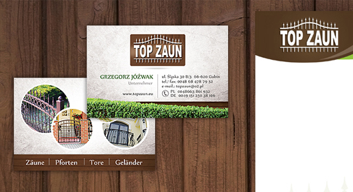 Top Zaun - firmowe materiały reklamowe